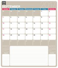 English calendar 2017 / September 2017, English printable monthly calendar template, week starts on Sunday