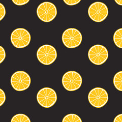 Lemon pattern on black background. Print texture. Fabric design. Vector illustration.