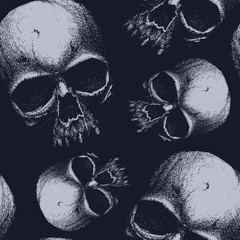 Grunge seamless pattern with skulls.