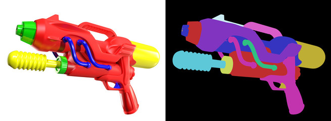 3D rendering of Water gun isolated on white background