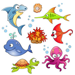 Set of cute cartoon sea animals isolated on white background