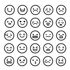 Vector icons of smiley faces emotion Cartoon