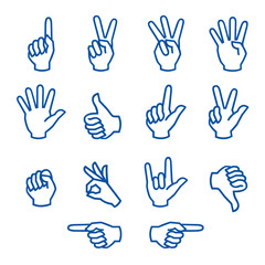 hands fingers signals over white background vector illustration