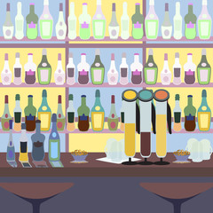 alcohol bar counter colorful vecor background illustration