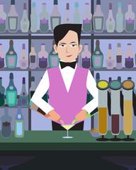barman serves drinks at bar