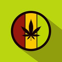 Hemp leaf on round rasta flag icon, flat style