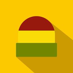 Tricolor rasta cap icon, flat style