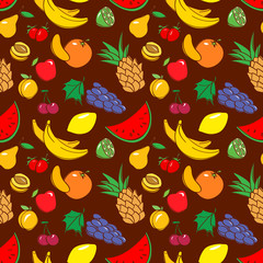 Vector seamless pattern with fruits in doodle style