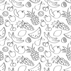 Black and white doodle seamless pattern with fruits