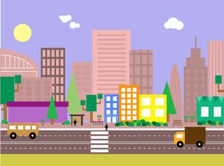 Flat design evening urban landscape illustration.