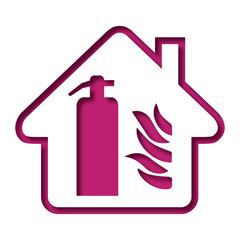 Logo maison et extincteur.