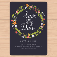 Save the date, wedding invitation card with flower Templates. Flower floral background. Vector illustration.