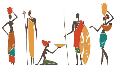 Silhouettes of native African men and women