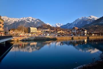 Foto op Aluminium Rivier Interlaken West downtown and Aare river