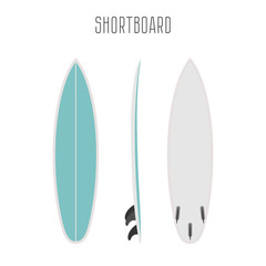 Vector surf short board with three sides