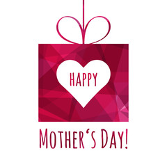 Happy Mothers Day greeting card. Gift and heart. Holiday background for Mothers Day in trendy style.