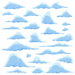 Cartoon blue clouds on a white sky background. Set of isolated funny cartoon clouds, smoke and fog patterns icons, for filling your sky scenes or the game interface backgrounds. Vector