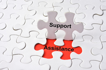 Support Assistance Cooperation Team Aid Concept on missing puzzl