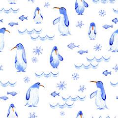 Penguins seamless pattern.Wave,fish,snowflake.Watercolor hand drawn illustration.
