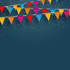 Vector party flags with confetti. Celebrate concept.