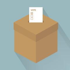 Minimalistic illustration of a white ballot box, symbol for voti