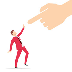 Red suit businessman and pointing finger