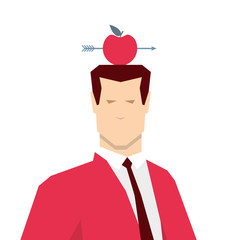 Red suit businessman and apple