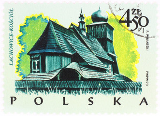 old polish church - postage stamp