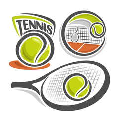 Vector illustration of the logo for lawn tennis, consisting of green ball, net on brown court with racket and racquet closeup