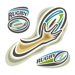 Vector illustration of the logo for rugby (football,rugger), consisting of 3 isolated illustration on white background closeup: rugby balls and hand