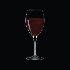 Vector glass of red wine on black background