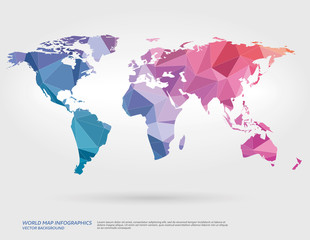Vector world map with polygons in background.