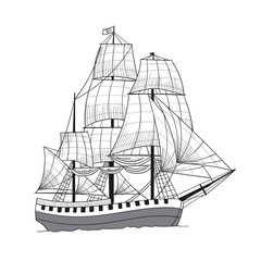 Vector Illustration of a Hand Drawn Sailing Ship