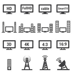TV related vector icon set