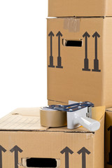 Moving carton boxes stack with tape roller