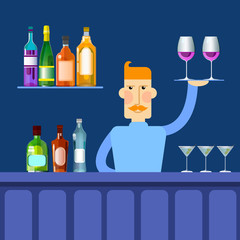 Bar Counter Barmen Hold Tray With Wine Glasses Alcohol Drink Bottle Set Collection