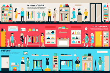 Shopping Center and Boutique Rooms flat shop interior concept web. Fashion Clothes Customers Mall Retail Purchase