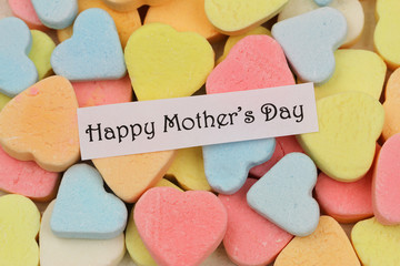 Happy Mother's day card with colorful sugar hearts