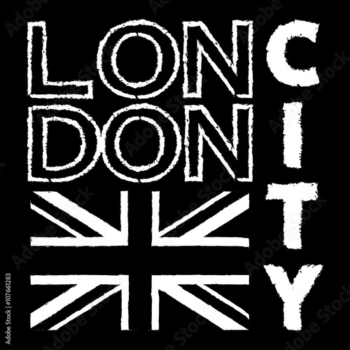 London City Typography Graphics British Flag Background Fashion Printing Design For Sportswear Apparel