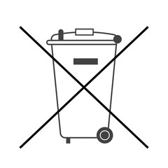 No trash bin icon. Crossed litter. Container recycle. Symbol of garbage, rubbish, dump. Prohibited element label public information. Black warning sign isolated on white background Vector illustration
