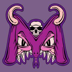 stylized  letter M  isolated monster mutant vector illustration