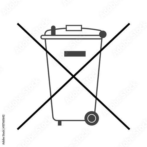 u0026quot no trash bin icon  crossed litter  container recycle