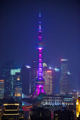 Famous Oriental Pearl radio and TV tower in Shanghai at night