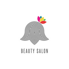 Hairdressing salon logo, silhouette abstract face woman with flower, line monogram barbershop emblem, modern hairstyle creative beauty parlor icon