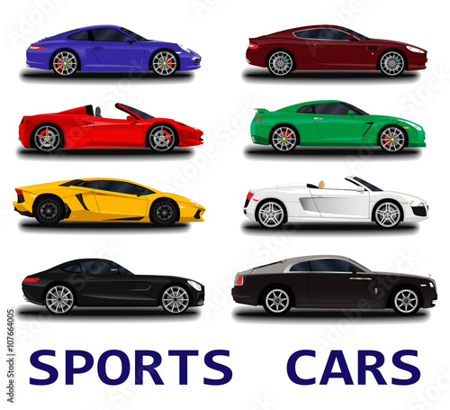 Big Sports Cars Set Stock Image And Royaltyfree Vector Files On - Big sports cars