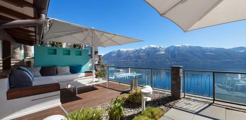 Terrace lounge in a luxury house