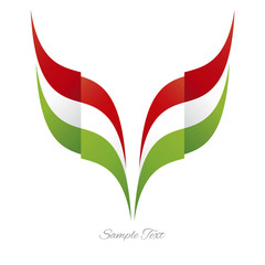 Abstract Italian eagle flag ribbon logo white background