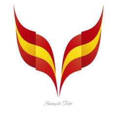 Abstract Spanish eagle flag ribbon logo white background