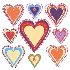 Vector set of nine hand drawn hearts. Colorful vector hearts for love, wedding cards and design elements