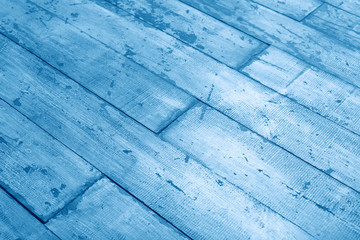 Old and shabby painted floor. Wooden planks texture background blue